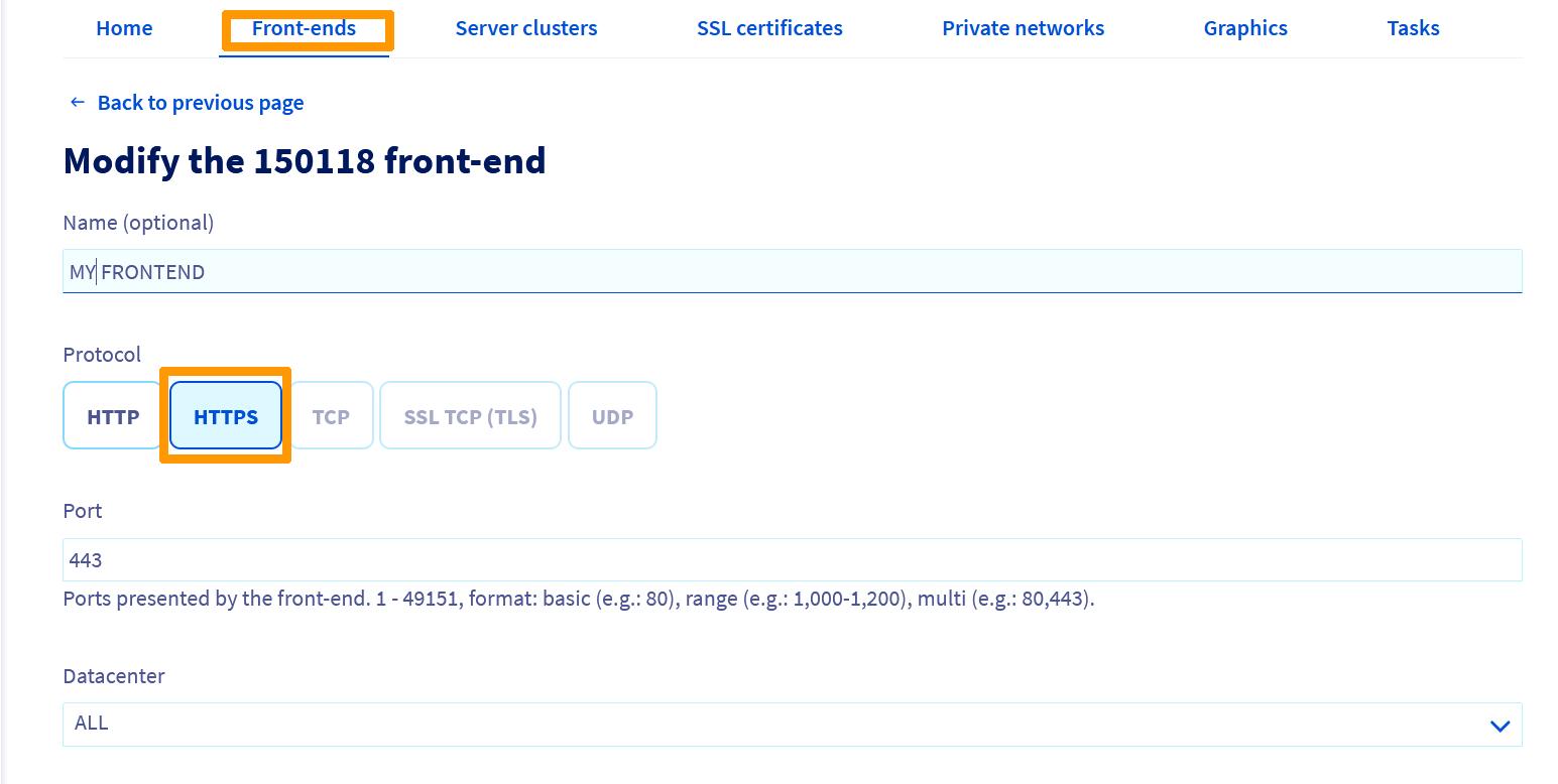 Configuration la terminaison SSL d'un Frontend