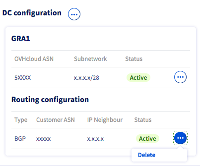 deleting routing configuration