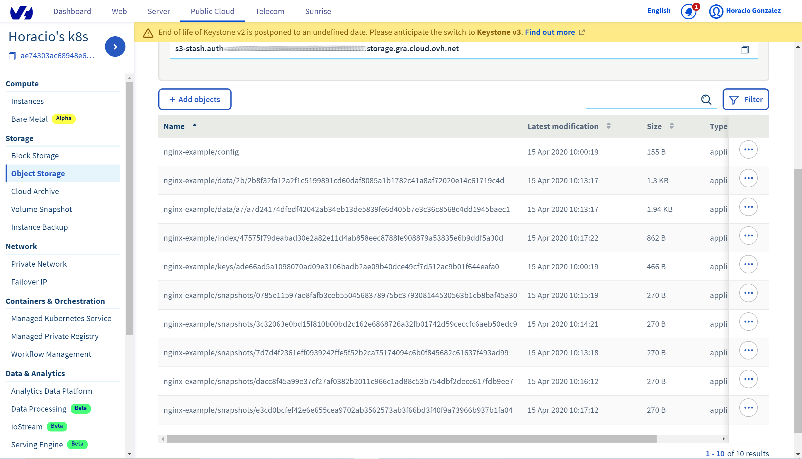 Snapshots onb OVHcloud Manager