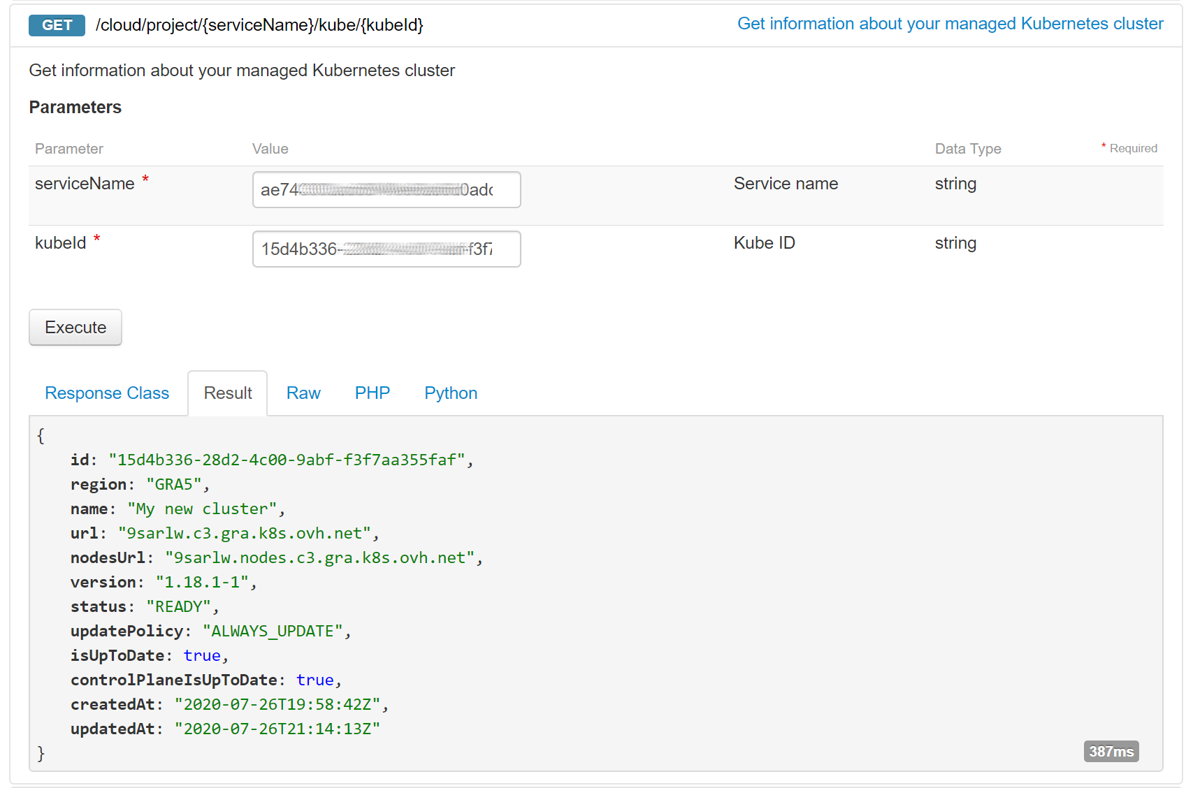 Getting your cluster information in the OVHcloud API