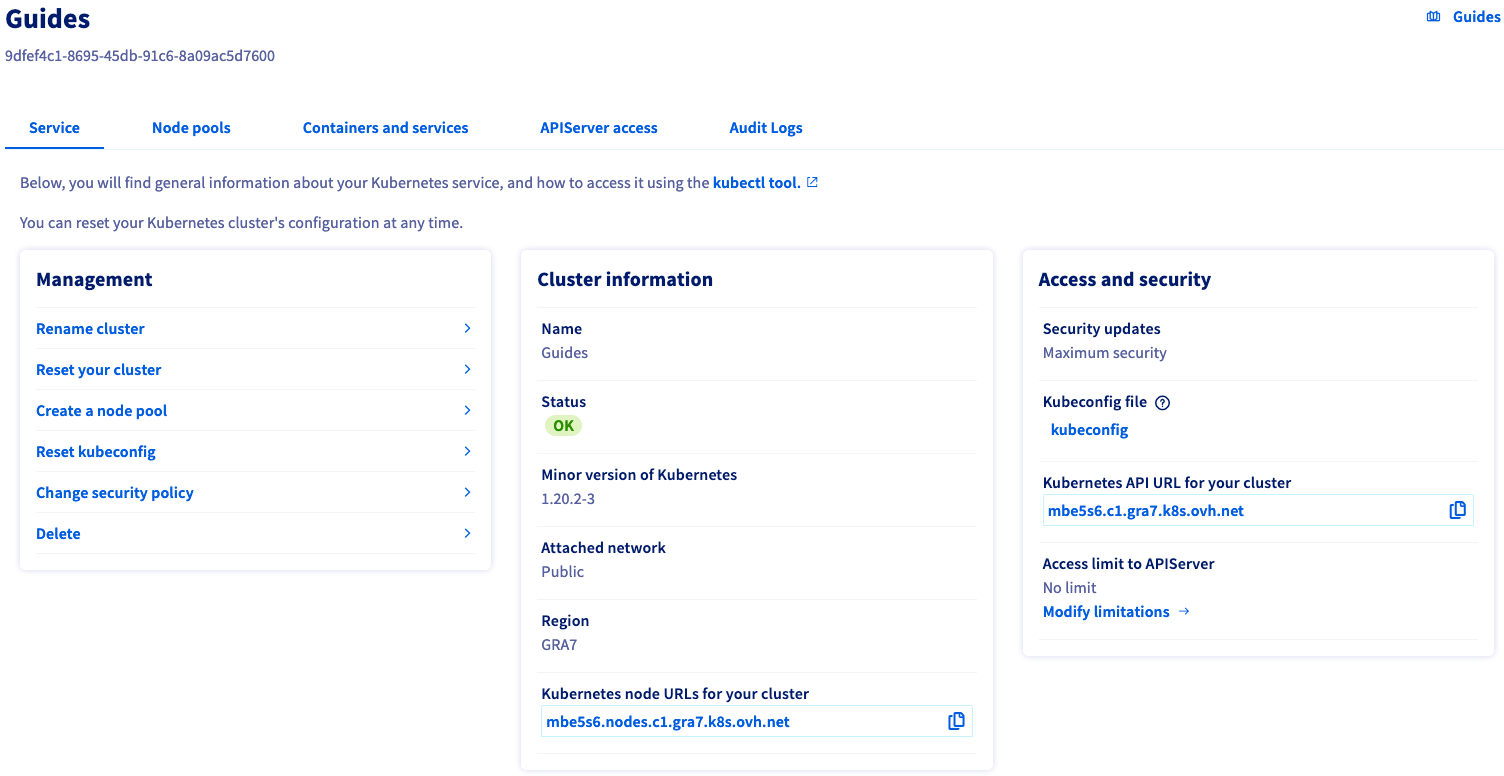 Access to the administration UI