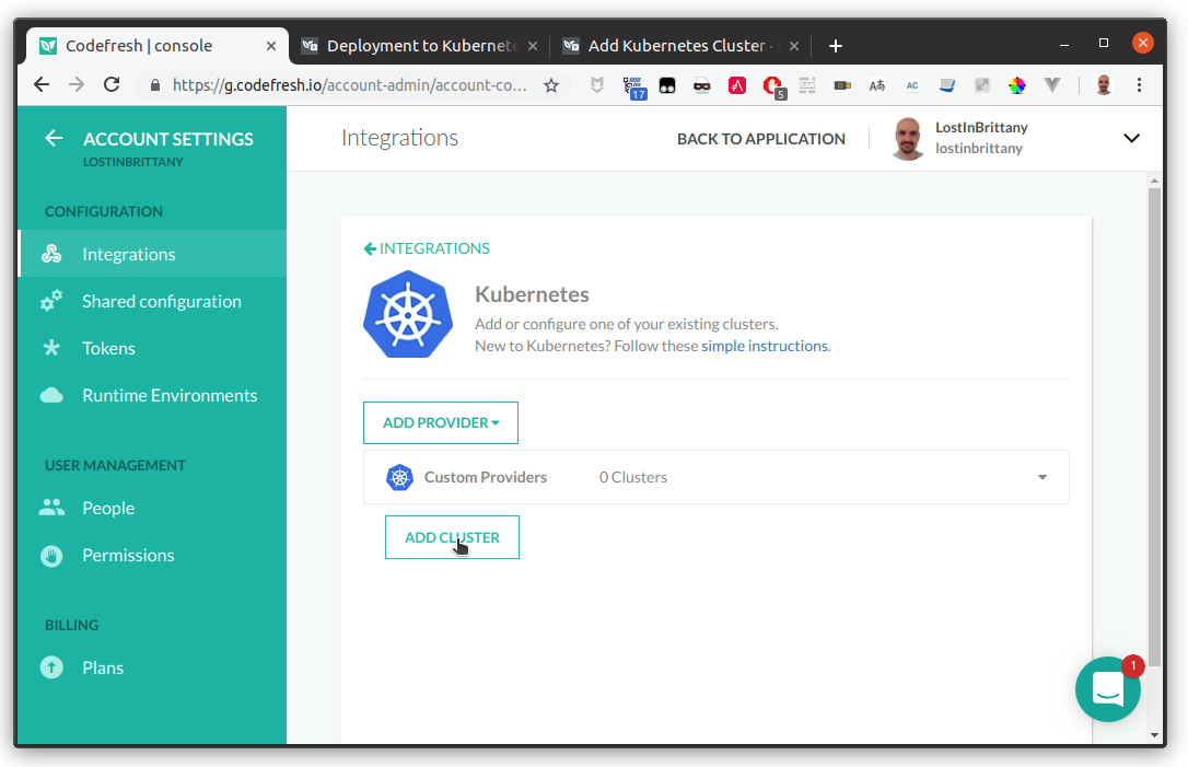 Connect an OVH Kubernetes cluster to Codefresh dashboard