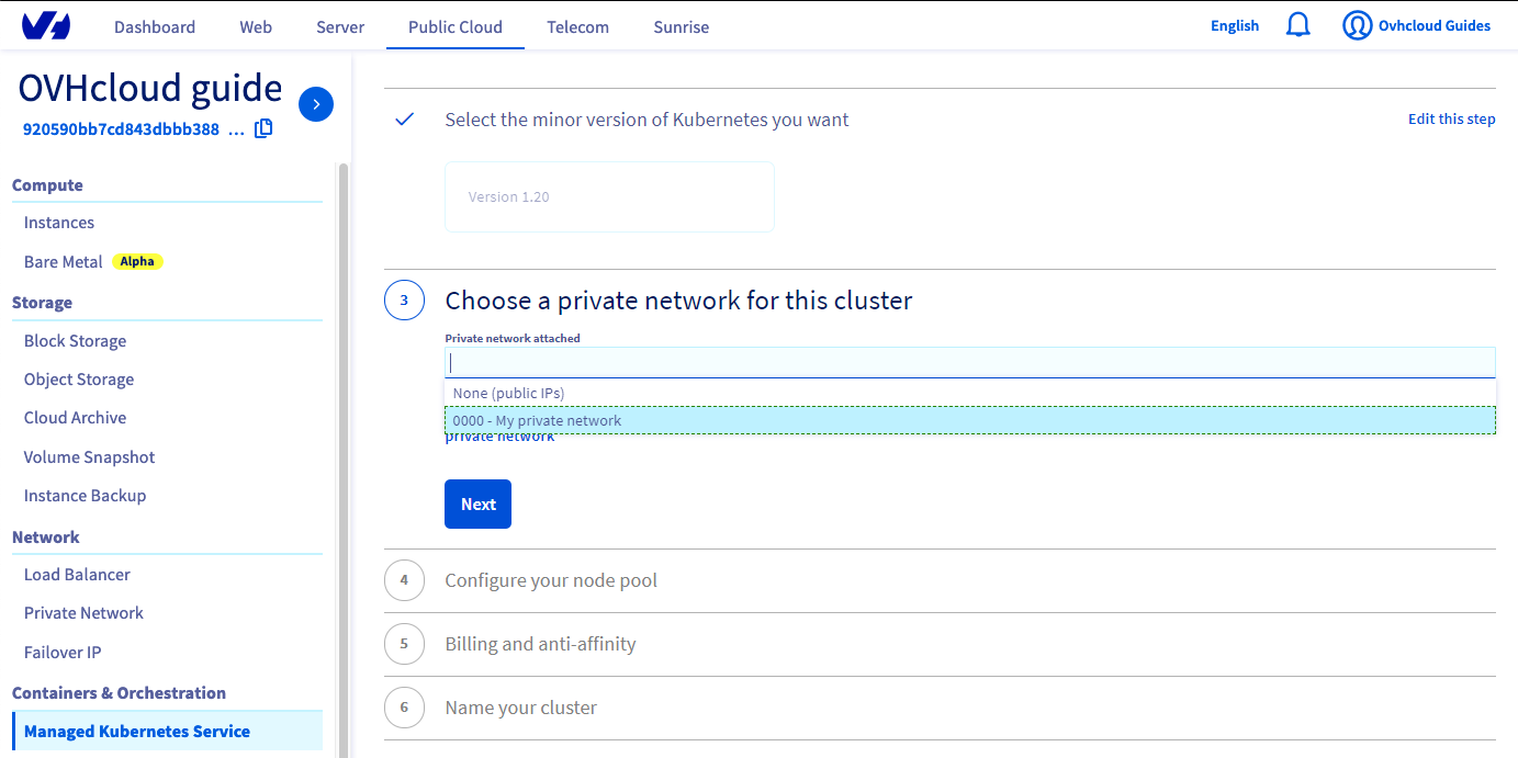 Choose a private network for this cluster