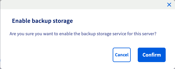 Activate Backup storage