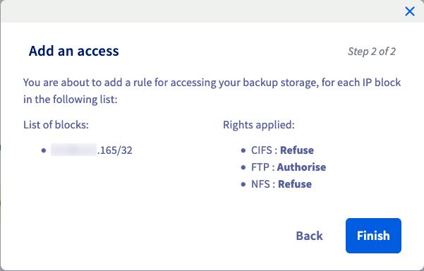 Añadir la regla de acceso
