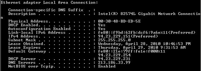 Respuesta del comando ipconfig /all
