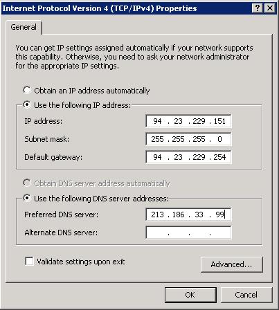 Propiedades del protocolo de internet versión 4 (TCP/IPv4)