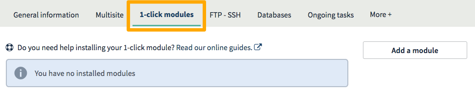Access to the 1-click modules section