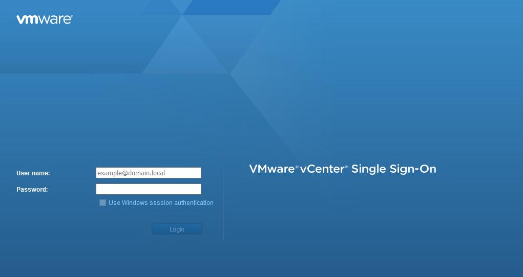 Connexion à l'interface vSphere HTML5