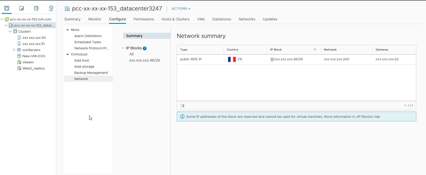 Configuration sur l'OVHcloud Network
