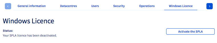 Licence SPLA Windows