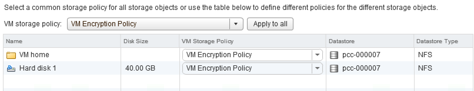 VM encryption storage