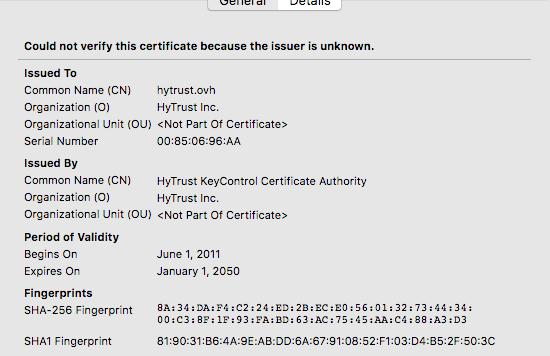empreinte du certificat