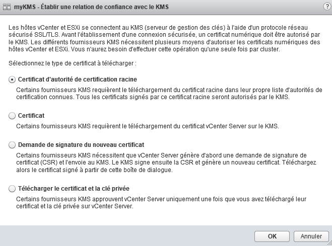 import certificat KMS
