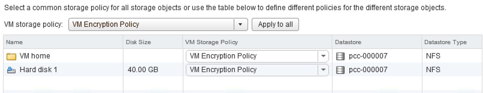 VM encryption storage