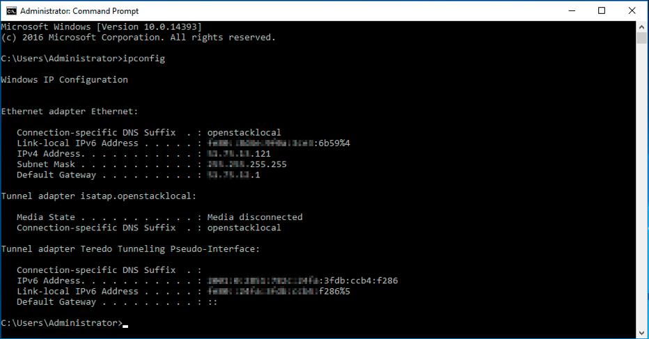 vérifier la configuration IP principale