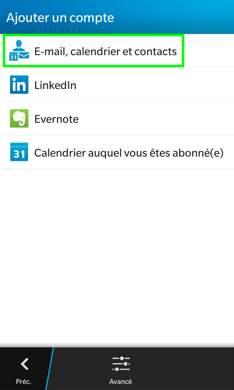 E-mail, calendrier et contacts