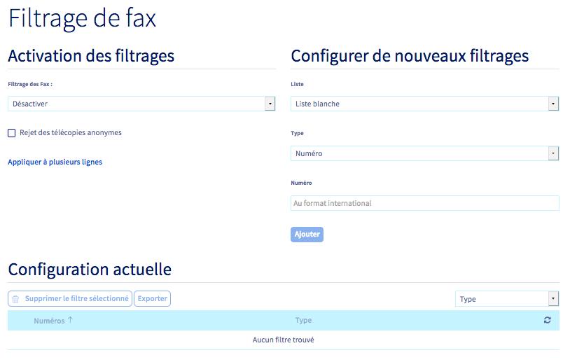 filtrage fax