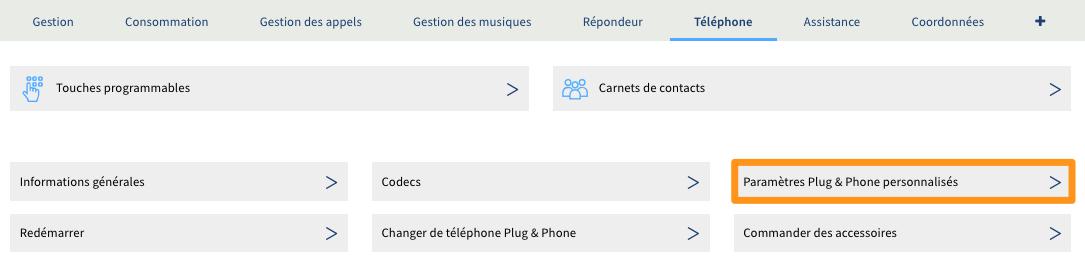 Paramètres Plug & Phone