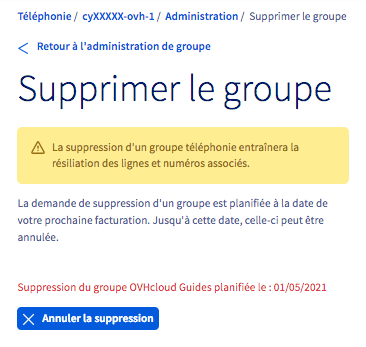 supprimer groupe