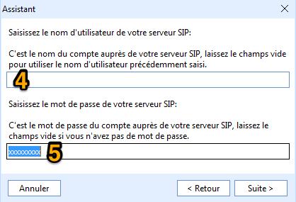 configuration - mot de passe SIP