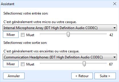 configuration - entrée et sortie audio