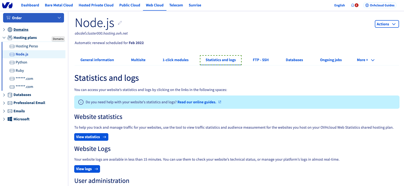 Accessing logs and statistics